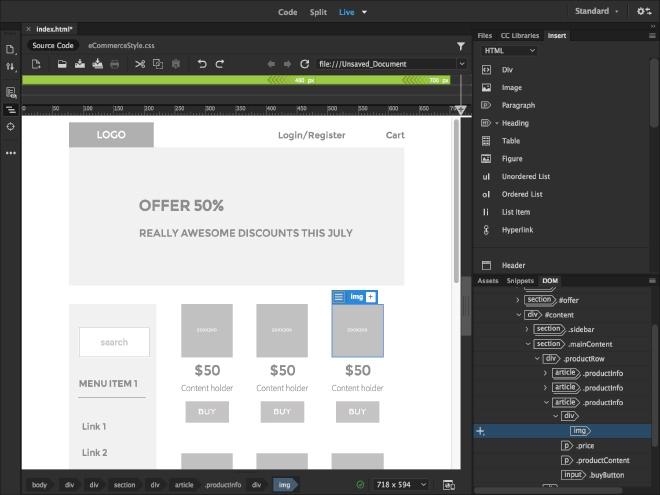 Website development with Dreamweaver